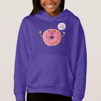 Funny Girls Hoodie Purple Donut Worry Be Happy
