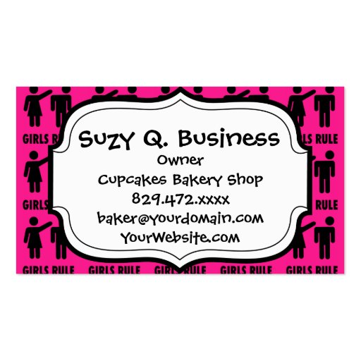 Funny Girls Rule Hot Pink Feminist Gifts Business Cards