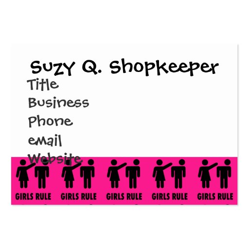 Funny Girls Rule Hot Pink Feminist Gifts Business Card Templates