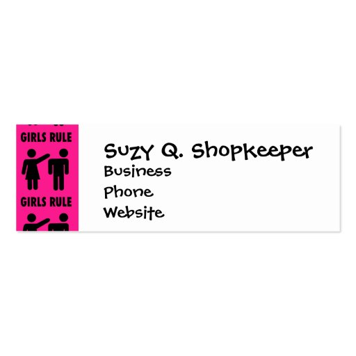 Funny Girls Rule Hot Pink Feminist Gifts Business Card