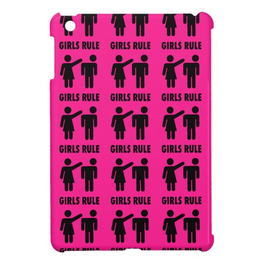 Funny Girls Rule Hot Pink Feminist Gifts iPad
