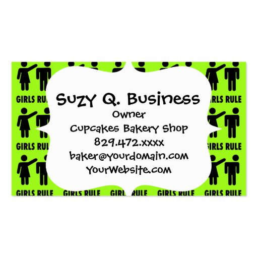 Funny Girls Rule Neon Lime Green Girl Power Business Cards