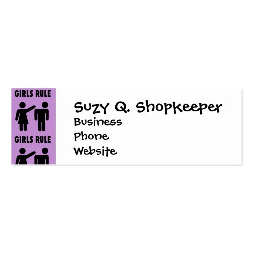 Funny Girls Rule Purple Girl Power Feminist Gifts Business Cards