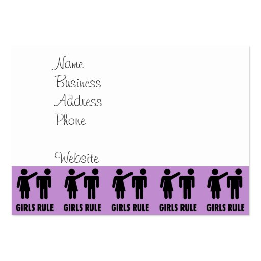 Funny Girls Rule Purple Girl Power Feminist Gifts Business Card Templates