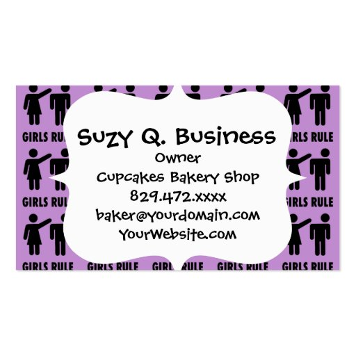 Funny Girls Rule Purple Girl Power Feminist Gifts Business Card Template