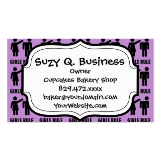 Funny Girls Rule Purple Girl Power Feminist Gifts Pack Of Standard Business Cards