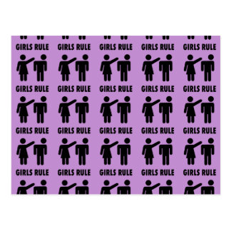 Funny Girls Rule Purple Girl Power Feminist Gifts Postcards