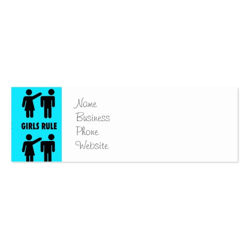 Funny Girls Rule Teal Turquoise Blue Girl Power Business Card