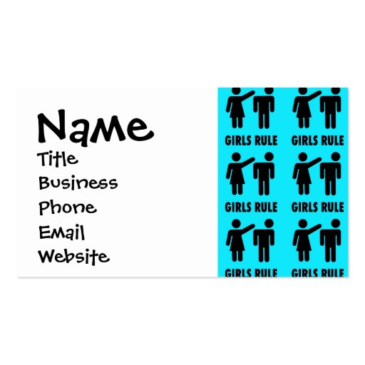 Funny Girls Rule Teal Turquoise Blue Girl Power Business Cards