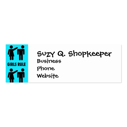 Funny Girls Rule Teal Turquoise Blue Girl Power Business Card Template