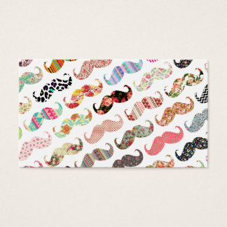 Funny Girly  Colorful Patterns Mustaches Business Card