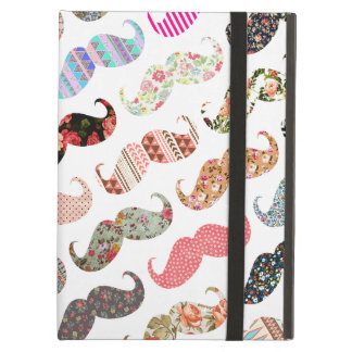 Funny Girly  Colorful Patterns Mustaches iPad Air Cover