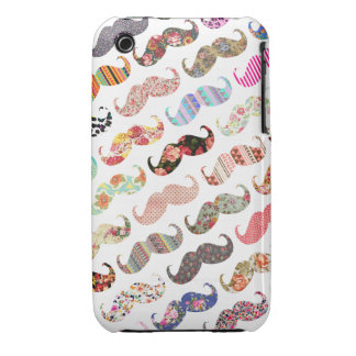 Funny Girly  Colorful Patterns Mustaches iPhone 3 Case