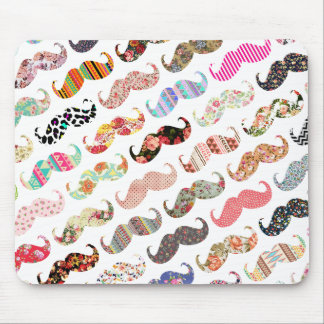 Funny Girly  Colorful Patterns Mustaches Mouse Mat