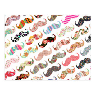 Funny Girly Colorful Patterns Mustaches Postcard