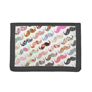 Funny Girly Colorful Patterns Mustaches Trifold Wallet