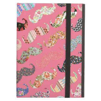 Funny Girly Colorful Pink Aztec Patterns Mustaches Cover For iPad Air