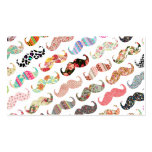 Funny Girly  Colourful Patterns Moustaches Business Card