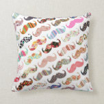 Funny Girly  Colourful Patterns Moustaches Throw Pillows