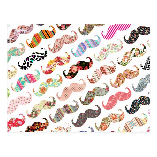 Funny Girly Colourful Patterns Moustaches Postcard