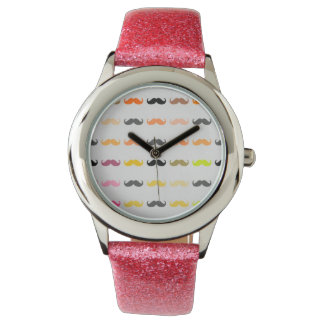 Funny Girly Mustache Wrist Watches