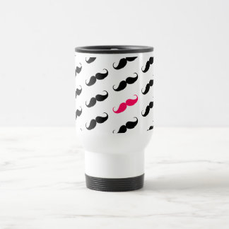 Funny Girly Pink  And Black Mustache Pattern Travel Mug