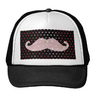Funny Girly Pink Bling Mustache Polka Dots Pattern Cap