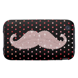 Funny Girly Pink Bling Mustache Polka Dots Pattern iPhone 3 Tough Covers