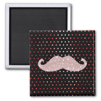 Funny Girly Pink Bling Mustache Polka Dots Pattern Square Magnet