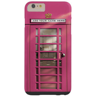 Funny Girly Pink British Phone Booth Barely There iPhone 6 Plus Case