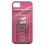 Funny Girly Pink British Phone Box Personalised iPhone 5 Cover