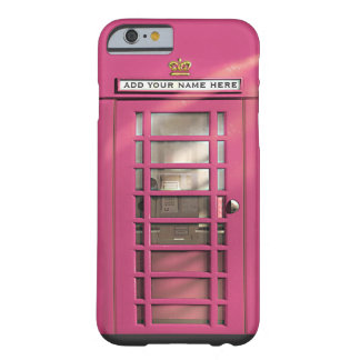 Funny Girly Pink British Phone Box Personalized Barely There iPhone 6 Case
