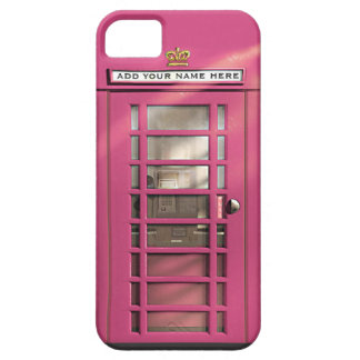 Funny Girly Pink British Phone Box Personalized iPhone 5 Covers