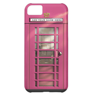 Funny Girly Pink British Phone Box Personalized iPhone 5C Case