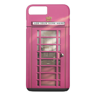 Funny Girly Pink British Phone Box Personalized iPhone 7 Plus Case