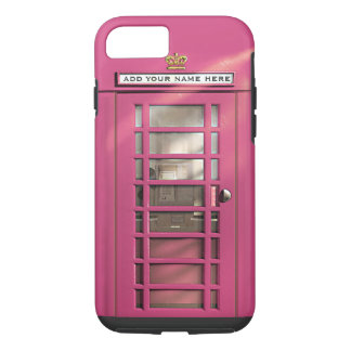 Funny Girly Pink British Phone Box Personalized iPhone 8/7 Case