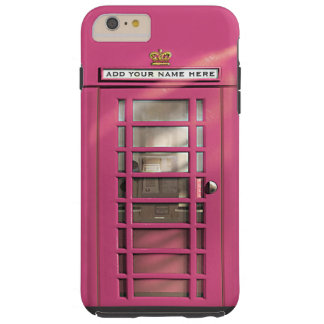 Funny Girly Pink British Phone Box Personalized Tough iPhone 6 Plus Case