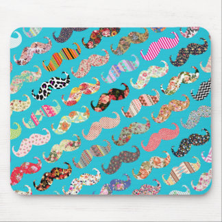 Funny Girly Turquoise Floral Aztec Mustaches Mouse Mat
