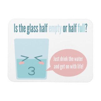 Funny glass half full cartoon flexible magnets