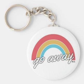 Funny Go Away Rainbow Slogan Key Ring