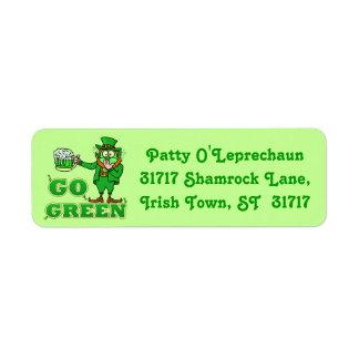 "Funny ""Go Green"" Drinking Leprechaun Return Address Label"