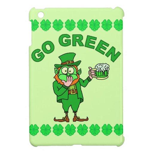 """Funny """"Go Green"""" Drunk Leprechaun iPad Mini Cover"""
