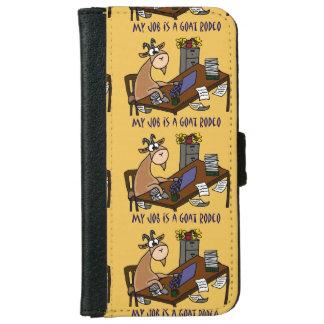 Funny Goat at Desk Goat Rodeo Job Humor iPhone 6 Wallet Case