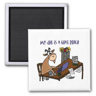 Funny Goat at Desk Goat Rodeo Job Humor Square Magnet