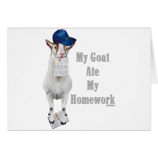 Funny Goat Ate My Homework Greeting Cards