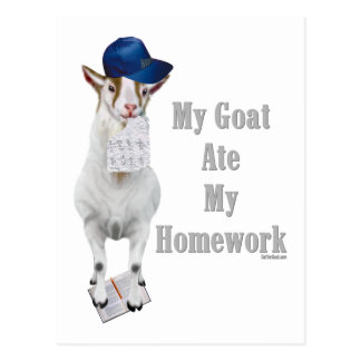 Funny Goat Ate My Homework Postcard
