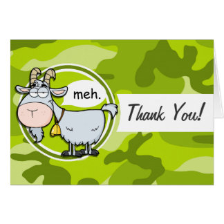 Funny Goat bright green camo camouflage Cards