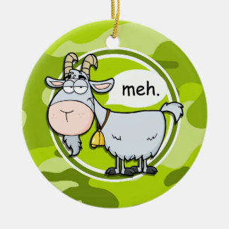 Funny Goat; bright green camo, camouflage Christmas Ornament