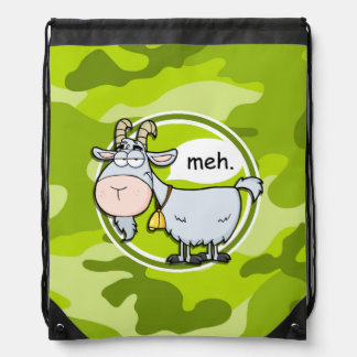 Funny Goat; bright green camo, camouflage Drawstring Bag