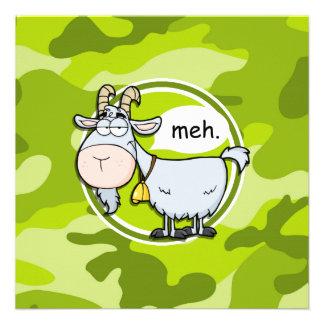 Funny Goat bright green camo camouflage Personalized Invitation